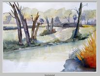 Moorlandschaft, Aquarellmalerei, Landschaft, Einsamkeit
