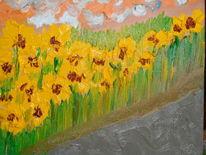 Blumen, Feld, Sonne, Malerei