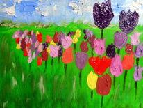 Wiese, Himmel, Tulpen, Malerei