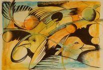 Aquarellstifte, Aquarellmalerei, Fantasie, Kugelschreiber