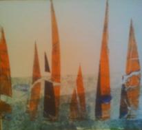 Wasser, Orange, Blau, Druckgrafik