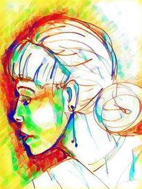 Bunt, Gesicht, Digital, Malerei
