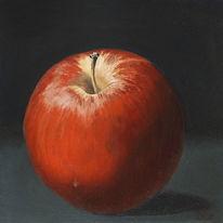Ölmalerei, Realismus, Stillleben, Roter apfel