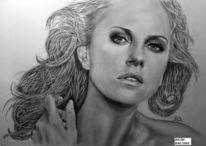 Zeichnung, Gold, Charlize theron, Portrait