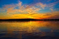 Sonnenuntergang, Landschaft, Wasser, See