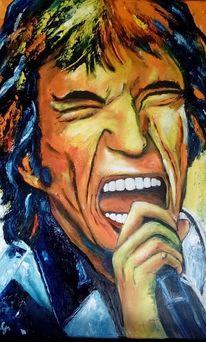 Musiker, Ölmalerei, Mick jagger, Rolling stones