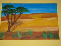Dünen, Wüste, Horizont, Baum