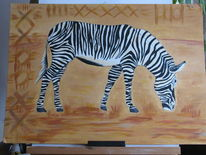 Zebra, Wüste, Schwarz weiß, Malerei