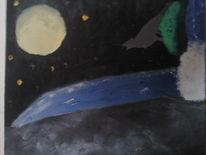 Malerei, Wolf, Wasserfall