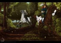Blätter, Wald, Pferde, Frau
