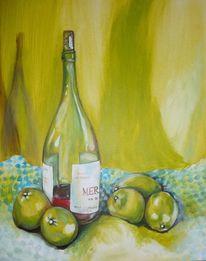 Apfel, Flasche, Tuch, Weinflasche