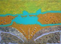 Sand, Stein, Fantasie, Acrylmalerei
