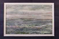 Tal, Hügelland, Wolken, Dämmerung