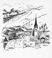 Kirche, Dorf, Südtirol, Berge