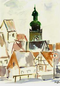 Dorf, Aquarellmalerei, Gebäude, Kirchturm