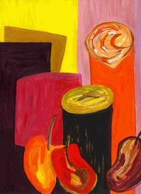 Aubergine, Kaffee, Paprika, Malerei