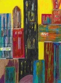 Gebäude, Abstrakt, Gelb, Blau