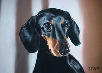 Hundeblick, Schwarzer hund, Hundeportrait, Malerei