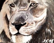 Löwe, Löwenkopf, Katze, Malerei