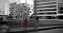 Frau, Mantel, Rot, Brücke