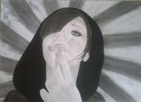 Kohlezeichnung, Mischtechnik, Bleistiftzeichnung, Portrait