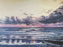 Acrylmalerei, Abendstimmung, Wasseroberfläche, Maritim