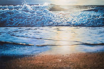 Brandung, Sonne, Acrylmalerei, Strand