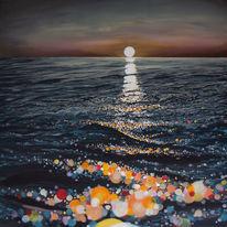 Sonnenuntergang, Abendstimmung, Reflexion, Acrylmalerei
