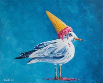 Möwe, Tiere, Acrylmalerei, Eis
