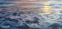 Ruhig, Realismus, Acrylmalerei, Sonnenuntergang
