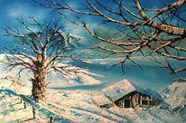 Landschaft, Baum, Schnee, Hütte