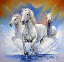 Gemälde, Tiere, Dorf, White horse
