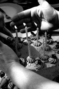 Hände, Kerzen, Geburtstag, Kuchen