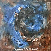 Zeitgenössische kunst, Tusche, Blau, Pigmente