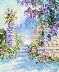 Park, Blumen, Sommer, Treppe
