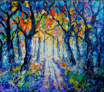 Wald, Waldweg, Landschaft, Malerei