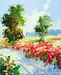 Mohn, Wiese, Sommer, Malerei