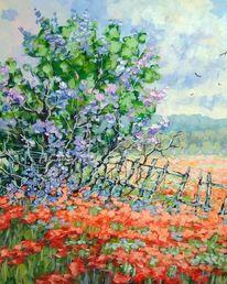 Sommer, Blumen, Wiese, Malerei