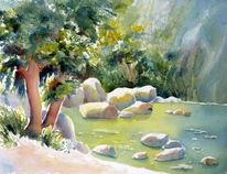 Stein, Sonne, Felsen, Wasser