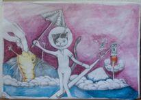 Schirm, Wolken, Aquarellmalerei, Milch