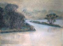 Landschaft, Fluss, Pastellmalerei, Zeichnungen
