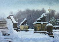 Landschaft, Winter, Schloss, Löwe