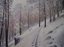 Baum, Berge, Gemälde, Malerei