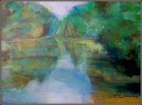 Teich, Grün, Malerei, Wasser