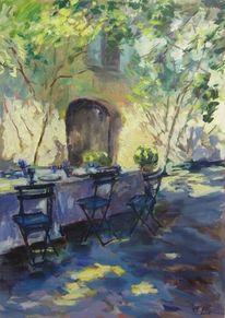 Haus, Malerei, Provence, Stuhl
