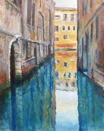 Romantisch, Venedig, Spiegelung, Malerei
