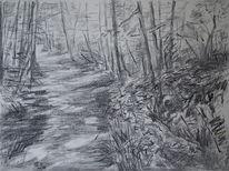 Natur, Impressionismus, Waldweg, Weg