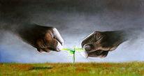 Hände, Blumen, Pflanzen, Landschaft