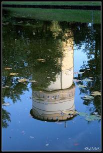 Spiegelung, Weiher, Laub, Wasserturm