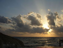 Meer, Griechenland, Sonnenuntergang vor gewitter, Wolken